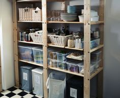 Conquer your pantry!  Sturdy GORM shelving units can support up to 110 lbs per shelf, making them ideal for heavy loads like canned goods and bottles.