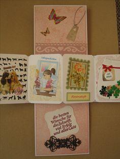 Twist-Pop-up-Karte aufgeklappt. Die Karte war für eine Kollegin zum Abschied. Die 4 kleinen Kärtchen zeigen ihre Vorlieben (Cocker Spaniel und Rosen), den Arbeitsalltag und ein Glas voller Glück für die Zukunft.