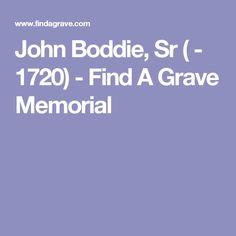 John Boddie, Sr ( - 1720) - Find A Grave Memorial-SOMEWHERE IN ISLE OF WIGHT VA