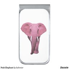 Pink Elephant Silver Finish Money Clip
