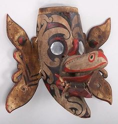 Indonesia Borneo East Kalimantan Dayak Wood Mask Hudoq Volute Decor CA 20th C | eBay