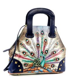 Magnifique Bags Blue & Green Peacock Hand-Painted Leather Satchel | zulily