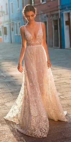 beach wedding dresses straight blush lace deep v neckline with straps gali karten #weddings #dresses #weddingdresses #weddingideas