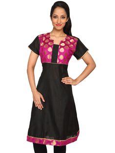 #DesignsbyKavitaS #Women's #Silk #Anarkali #Kurta with #Chanderi #Silk #Brocade #Yoke and Trim