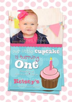 Baby First Birthday Invitation Our little cupcake for girls any age I customize you print. $12.99, via Etsy.