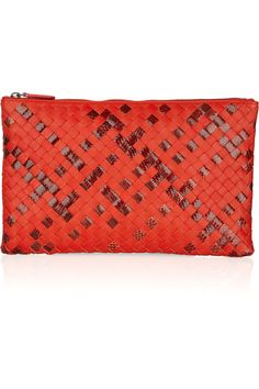 Bottega Veneta | Leather and watersnake intrecciato pouch