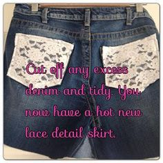 DIY Tutorial DIY Skirt From Jeans / DIY mini lace denim skirt by jeans trousers - Bead&Cord Denim And Lace, Diy Tutorial, Lace Detail, Denim Skirt, Sewing Crafts, Boho Chic, Cord, Trousers, Diy Jeans