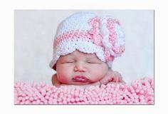 Items similar to Newborn Baby Girl Crochet White Pink Flower Hat FREE SHIPPING on Etsy. , via Etsy.