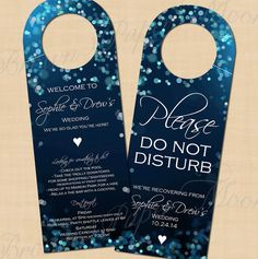 This starry midnight blue bokeh Do Not Disturb door hanger is the perfect way to welcome your guests to their rooms, and can also include helpful