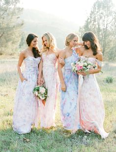 745b48b0aa Floral Pastel Print bridesmaids dresses Couture Bridesmaid Dresses