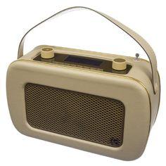 KitSound Jive Retro Tragbares DAB Radio mit Dual Alarm Wecker, EU Netzstecker und Tragegriff - Creme