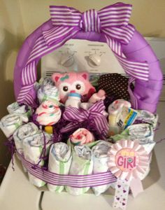 Diaper cake basket for a baby girl!!