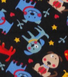 "Blizzard Fleece Fabric 59"" - All Over Tossed Dog Black"