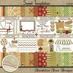 Digital Scrapbooking Sweet Temptation Kit #DandelionDustDesigns #DigitalScrapbooking