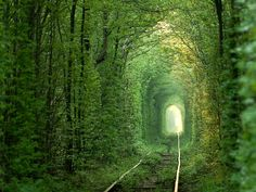 Tunnel of Love Ukraine's Tunnel of Love located near the town of Klevin may not be the most dramatic spot on our list, but for the tree-loving romantic, it may steal the show. Fortunately, someone decided that train tracks and forests need not be mutually exclusive, and thus, a towering tunnel through the trees has been maintained to allow travel of a train that makes its way through the fairytale passage three times a day.