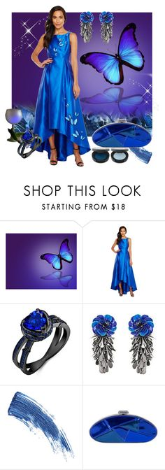 """""""Butterfly Blues"""" by mystic2awesome ❤ liked on Polyvore featuring Adrianna Papell, Forest of Chintz, Eyeko and Versace"""
