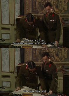 Lessons in Leadership by Military Genius General Melchett General Melchett combines his university experience, knowledge of rugby and even flower arranging to display some unique leadership skills in Blackadder. British Comedy Series, British Tv Comedies, Comedy Quotes, Comedy Tv, Welsh, Best Tv, The Best, Blackadder Quotes, Only Fools And Horses