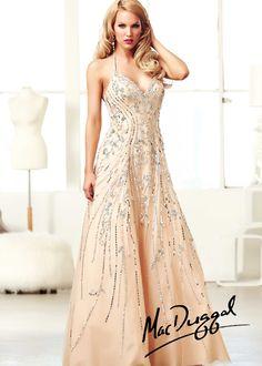 Mac Duggal 76568H - Nude/Silver Sequin Halter Prom Dresses Online #thepromdresses