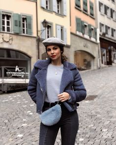 """98 Likes, 8 Comments - Maeva Buono Verzola (@maevabuono) on Instagram: """"Shades of blue - can't stop wearing berets in winter, partly because of hiding my hair as a new…"""""""