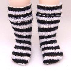 Black & White Striped Socks for Lati Yellow, PukiFee, Riley Kish, Tulah Kish, Bobobie Nissa, DIM Silf, Lati Yellow SP, Blythe, Dollk K00001B. $2.99, via Etsy.