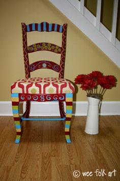 """Painted fun chair. Idea for """"Take A Seat"""" fund raiser."""