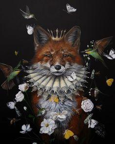 Dewi Plass (Dutch, b. Nijmegen, Netherlands) - Royal Fox, Paintings: Acrylic on cradled birch Panel Foto Poster, Most Beautiful Animals, Unusual Art, Fox Art, Tier Fotos, Animal Wallpaper, Wildlife Art, Surreal Art, Animal Photography
