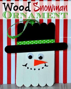 Wood Snowman Ornaments are a great Christmas craft that are so fun to make and easy too using popsicle sticks!