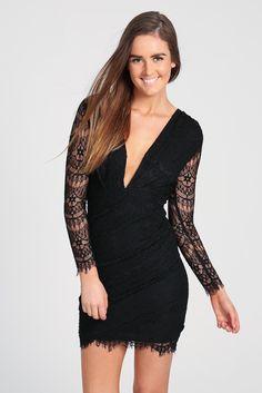 Black Long Sleeve Lace Deep V Bodycon Dress