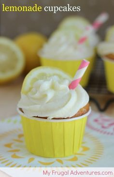 Easy and Fun Lemonade Cupcake Recipe! Citrusy cupcake filled with lemon curd and topped with silky Buttercream frosting. Perfect for summer!