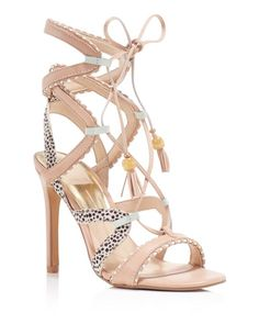 Dolce Vita Haven Calf Hair Lace Up High Heel Sandals