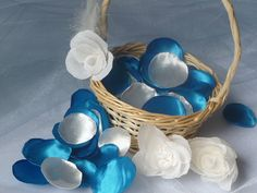 Satin Navy Blue and White Roses PetalsHandmade by InspirellaDesign