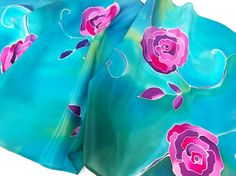 Turquoise silk scarf with theme of purple roses. Hand painted by SilkAgathe