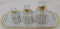 Le Tallec Limoges Porcelain Hand Painted 3 Perfume Bottle Set with Tray 1956 in Pottery & Glass