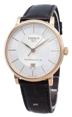 Tissot T-Classic Carson Automatic Men's Watch White Watches For Men, Le Locle, Automatic Watches For Men, Watch Brands, Krystal, Stainless Steel Case, Rose Gold, Classic, Silver