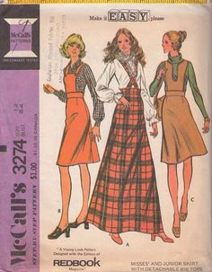 MOMSPatterns Vintage Sewing Patterns - McCall's 3274 Vintage 70's Sewing Pattern Easy VERY UNIQUE Mod Wide High Waisted Bib Skirt Set, Detachable Bib or Straps, Flared Regular or Maxi Skirt
