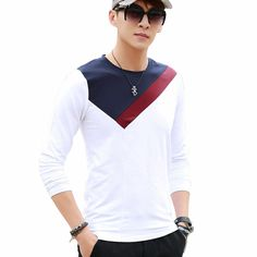 Beswlz Men T Shirts Long Sleeve Cotton O Neck Spring Autumn Fashion Patchwork Colors Slim Tops Tees 8901