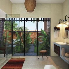 the Master Bathroom opens up into a private courtyard  Waikiki Wetland Resort, Vengurla - Architecture BRIO, India   #architecture #rendering #sustainablearchitecture #tropicalarchitecture #contemporary #courtyard #jacuzzi