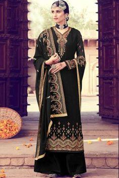 #Pakistani Dresses , Designer #Wedding #Black Georgette Palazzo #Suits Online UK - Shopkund Latest Salwar Suits, Pakistani Suits Online, Latest Salwar Kameez, Pakistani Dresses, Bollywood Dress, Indian Bollywood, Bollywood Fashion, Style Palazzo, Palazzo Suit