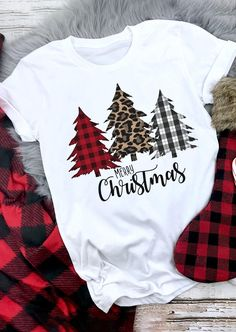 Merry Christmas Plaid Leopard Printed Tree T-Shirt Tee - White - Bellelily Christmas Style, Merry Christmas, Plaid Christmas, Christmas Shirts, Christmas Projects, Christmas Trees, Christmas Fashion, Christmas Clothes, White Christmas