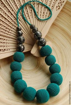 How to make an invisible decrease in single crochet Teal Necklace, Fabric Necklace, Fabric Jewelry, Beaded Jewelry, Beaded Necklace, Teething Necklace For Mom, Nursing Necklace, Crochet Jewelry Patterns, Crochet Accessories