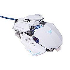 KINGTOP ゲーミングマウス 4800DPI 10つのカスタマイズ可能なボタン マクロ設定可能 LED光学式 USB有線ゲーミングマウス 日本語説明書付き (ホワイト) 低価格だが、マウスボタンのキー配列・DPI・ポーリングレートに至るまでカスタマイズ可能な10個ボタンのゲーミングマウス。 外観は一見MAD CATZ社のカスタマイズマウス風で調整可能に見えるが、実際には調整できないのでスプリングなどは完全に装飾だ。 センサーは赤色LED光学式で、高価格帯のゲーミングマウスでおなじみのレーザー式ではない。 赤色LED光学式は低価格マウスで一般的な方式で、ガラス面などでポインタが飛んでしまうと…