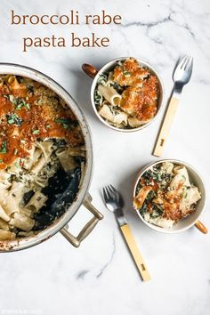 """broccoli rabe pasta bake is cheesy, carby PERFECTION. Well if there was ever a time for the best """"stuck at home"""" dinner, it is NOW. Dutch Oven Set, Pasta Bake, The Dish, Cooking Time, Bon Appetit, Broccoli, Food And Drink, Veggies, Yummy Food"""