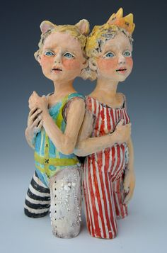 Sisters 28 ceramic sculpture by artist Victoria Rose Martin