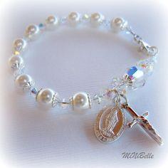 Rosary Bracelet. Pearl Rosary Bracelet. Religious por MiNiBelle