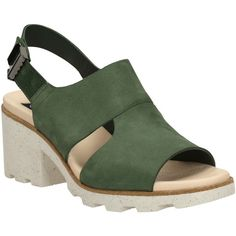 Christopher Raeburn for Clarks Jungle Fern Block Heeled Sandals ($105) ❤ liked on Polyvore featuring shoes, sandals, dark green nubuck, heeled sandals, clarks mules, low heel sandals, flat mules and slingback mules