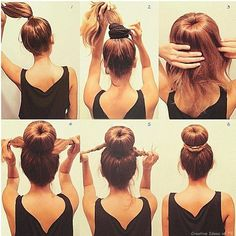 Sock Bun Tutorial: This is much easier than trying to roll the hair down with the sock ring. It is well suited for medium-length layered hair and for wet hair. However, I skip step 1 and just pull all my hair through the sock ring, then I add the hair tie Hair Tie, My Hair, Pretty Hairstyles, Easy Hairstyles, Hairstyles 2018, Updo Hairstyle, Donut Hairstyle, Hairstyle Ideas, Wedding Hairstyles
