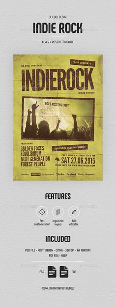 Buy Indie Flyer/Poster by be-cool on GraphicRiver. Indie Flyer Features: CMYK colors 300 DPI Layered PSD file Customizable and Editable Size + bleeds). Flyer Design Templates, Flyer Template, Forest People, Indie, Rock Sound, Concert Flyer, Cool Presents, Punk Rock, Grunge