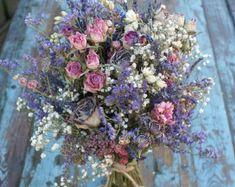 Jewel Rose Garden Dried Flower Wedding Bouquet