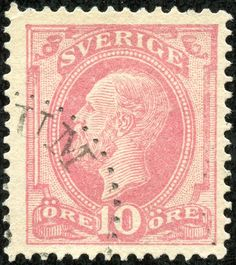 "Sweden 1885 Scott 39 10ö dull rose ""King Oscar II"""