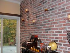 This Is A Second View Of Brick Tile Office Wall With Custom Made Votive